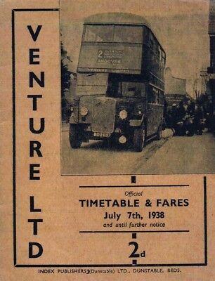 Venture Ltd, Basingstoke: Bus Timetable booklet: July 7th, 1938