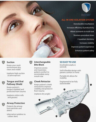Autoclavable 2 Small Dryshield Isolation Dental Mouth Pieces Reusable