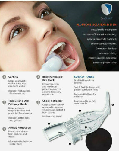 DRYSHIELD Autoclavable Dental Mouthpiece/Bite Block in size MEDIUM  BRAND NEW