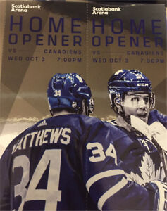 Toronto Maple Leafs vs Montreal Canadiens HOME OPENER - 2 pairs