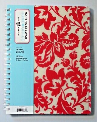 Martha Stewart Home Office With Avery Ruled Notebook Red Floral 8 X 10