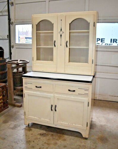 Antique Art Deco Style, 2 Piece Hoosier Kitchen Cabinet, Ivory
