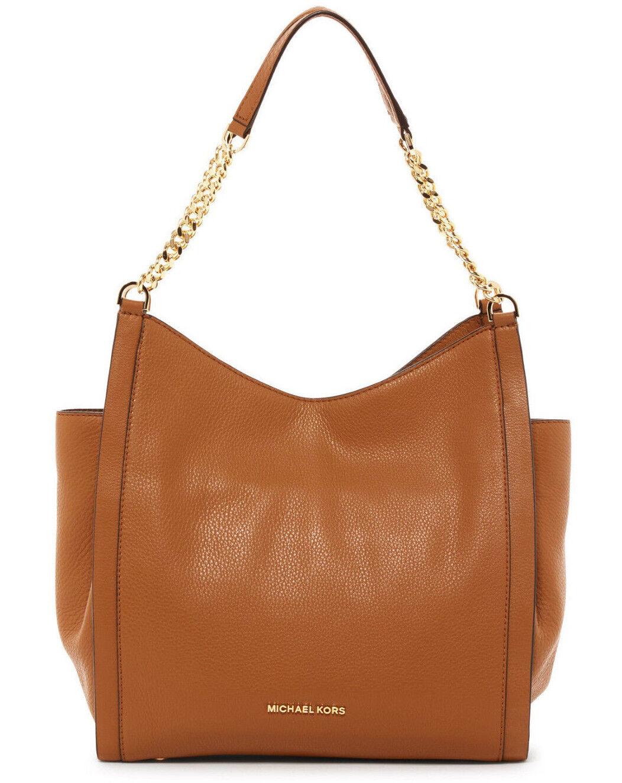 MICHAEL Michael Kors Newbury Medium Chain Tote Leather Shoulder Bag ACORN $328
