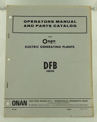 Vintage Onan Dfb Series Generator Genset Operators Manual Parts Catalog