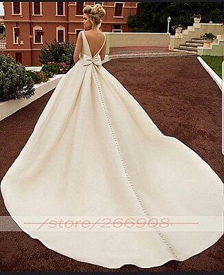 New White Sleeveless Satin Bridal Wedding Dress Boat Neckline Bow Long Train 16