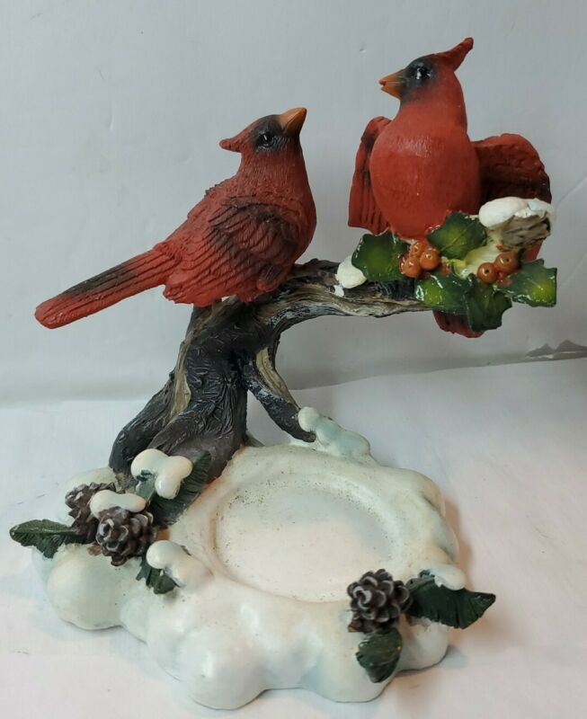 "Red Cardinal Bird Resin Figurines on Snowy Logs Candle Holder 4.5""  (BIN#146)"