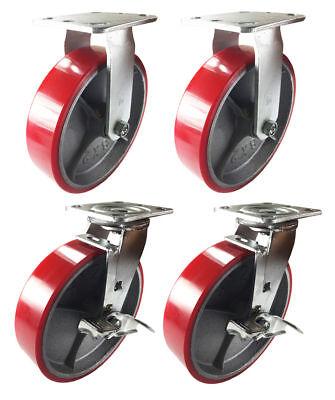 4 Heavy Duty Caster 8 Polyurethane Cast Iron Wheels Rigid Swivel Brake Red