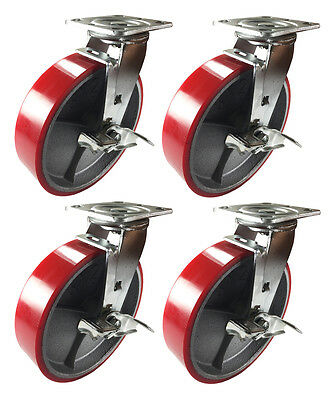 8 X 2 Red Polyurethane On Cast Iron Casters - 4 Swivels With Brake