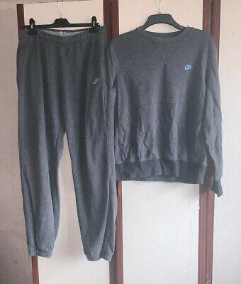 Men Nike Grey Long Sleeved Jumper Size Large And Joggers Size Medium Tracksuit