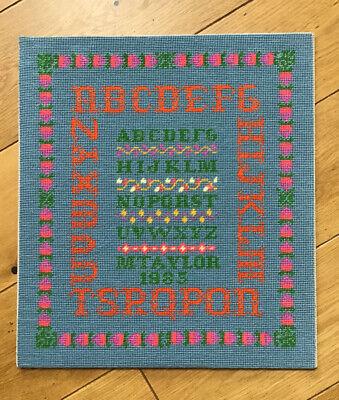 Vibrant Colours Vintage WOOLWORK Alphabet & Fruit Embroidered Sampler Blue