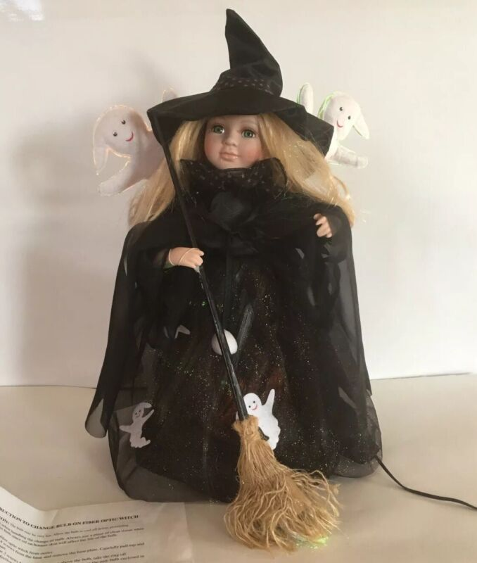 """HALLOWEEN COLOR FIBER OPTIC LIGHT UP ANIMATED MOVING BLOND 18 1/2"""" WITCH FIGURE"""