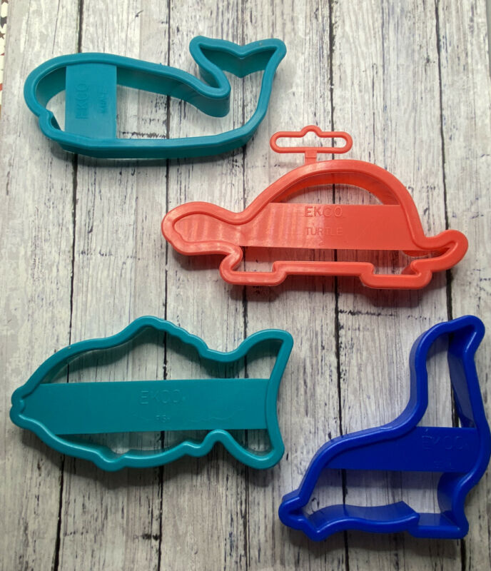 Vintage Ekco 1994 Animal Mammal Cookie Cutters! Turtle Whale Seal & Fish!