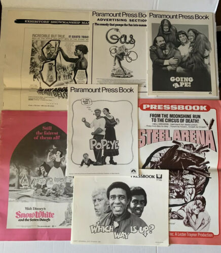 7 Vintage Movie Pressbooks Lot 1 SNOW WHITE, POPEYE, GOING APE, WHICH WAY IS UP - $9.99