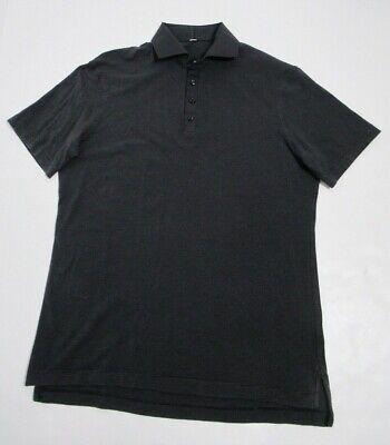 Lululemon Men's Polo Shirt Size Medium Mini Hyper Stripe Black Stretch  Black Mini Stripe Polo