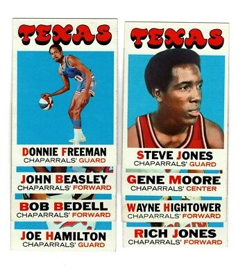 5501c52eee63 1971 Topps TEXAS CHAPARRALS (San Antonio Spurs) ABA team set EX  NM--COMPLETE!!