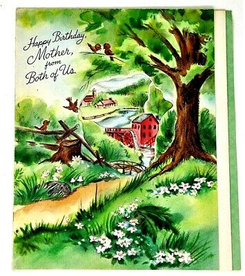 Vtg Hallmart Picture Booklet Happy Birthday Greeting Card For Mom Scene Of Town ()