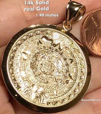 "1.90"" X BIG 14k SOLID Real Aztec YELLOW GOLD pendant  Calendar mayan Sun mexico"