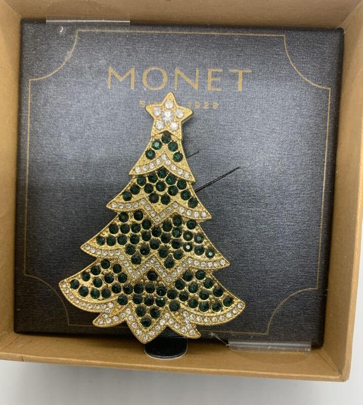 Monet Goldtone Christmas Tree Brooch Pin Clear  Green Rhinestones NIB