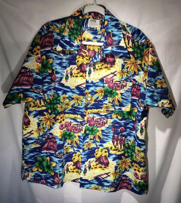 1950's Montgomery Ward Mens XL Polynesian Print Polyester Aloha Shirt