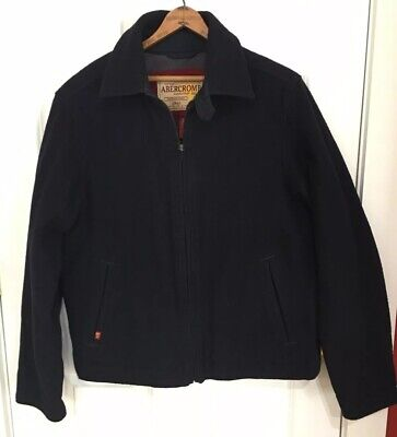 Abercrombie and Fitch A&F Navy Blue Wool Coat Jacket Size Large for sale  Shipping to Canada