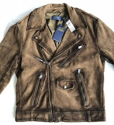 Ralph Lauren Polo Distressed Classic Brown Suede Leather Biker Moto Jacket Med -