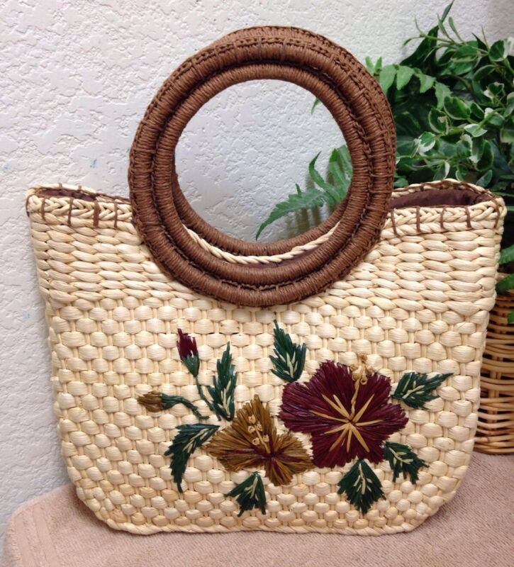 Women's Natural Woven Straw Floral Satchel Tote Shopper Bag Handbag Purse Small