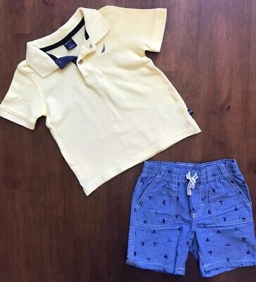 Nautica Toddler Boy Yellow Polo Shirt And Elastic Waist Short Outfit - Size 2T