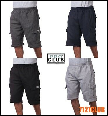 Pro Club Cargo Shorts Men's Heavyweight Fleece Joggers Sweat Short Pockets S-7XL