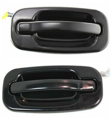 NEW Rear Outside Door Handles Set Smooth Black for 99-06 Silverado Tahoe Sierra 99 Chevy Suburban Outside Door