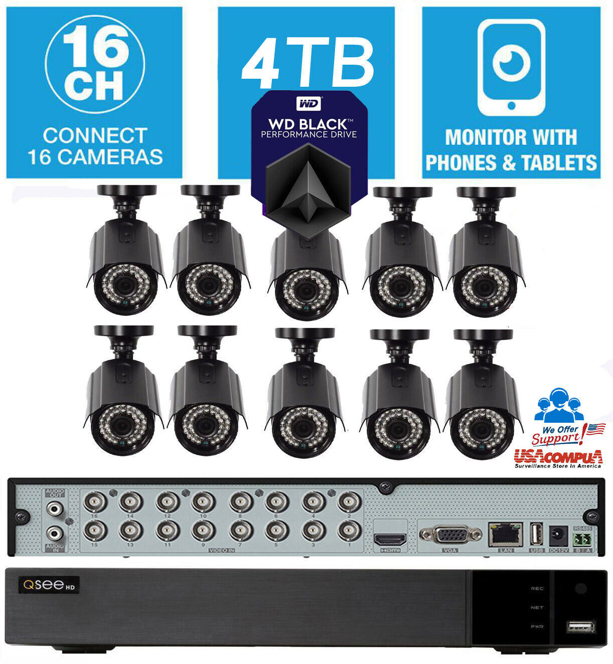 Q-See Security System 16 Channel  10 Camera Kit  1080p 4TB H
