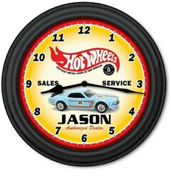 Hot Wheels PERSONALIZED Wall Clock - Car Retro Toys Kids Boys Bedroom XMAS GIFT