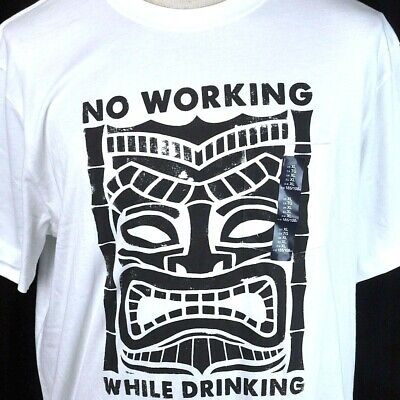 Tiki God No Working While Drinking Pocket T-shirt XL Mens White Rum GAP -