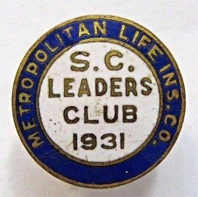 1931 METROPOLITAN LIFE S.C. LEADERS CLUB enamel inlay collar lapel stud