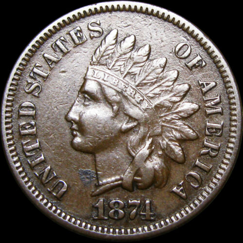 1874 Indian Cent Penny Type Coin ----  STUNNING ---- #B892