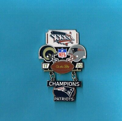 0eb8f07bc New England Patriots Super Bowl XXXVI 36 Champions Large Dangle Football  Hat Pin