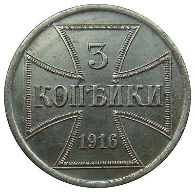(N65) - Gebiet des Oberbefehlshabers OST - 3 Kopeken Kopeks 1916 A - AU - KM# 23