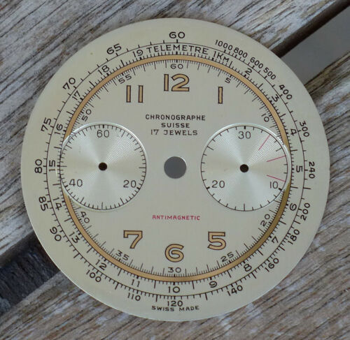 RARE NEW OLD STOCK CHRONOGRAPH SWISS DIAL FOR LANDERON 48 51 33.90MM (17)