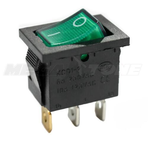 SPST KCD1 Mini Rocker Switch Illuminated GREEN Lamp On-Off 6A/250VAC USA SELLER!