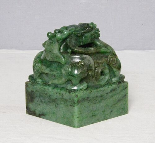 Nice  Hand  Carved  Large  Chinese  Green  Spinach  Jade  Seal      M2397