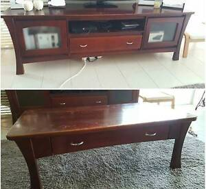 Wooden entertainment unit and coffee table Millbridge Dardanup Area Preview