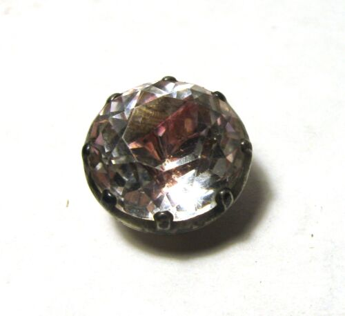 Beautiful Sparkling Antique Rock Crystal with Rose Blush Set in Silver Button