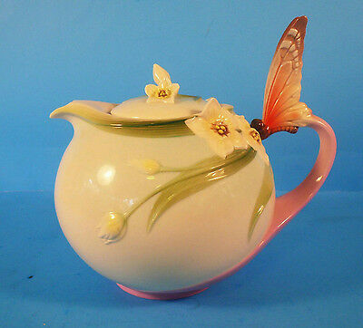 FRANZ Fine Porcelain Papillon Butterfly Teapot #XP1878 Stunning & Collectible!