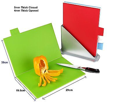 COLOUR CODED INDEX CHOPPING BOARD SET 4 FOLDING BOARDS + STAND KITCHEN STARS