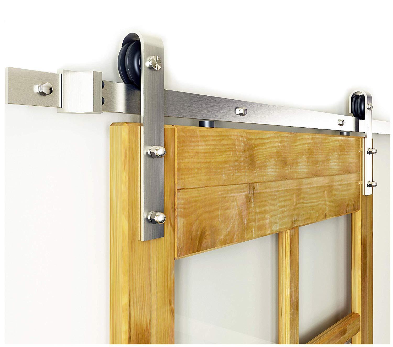 DIYHD 5FT~10FT Brushed Nickel Steel Sliding Barn Wood Door T