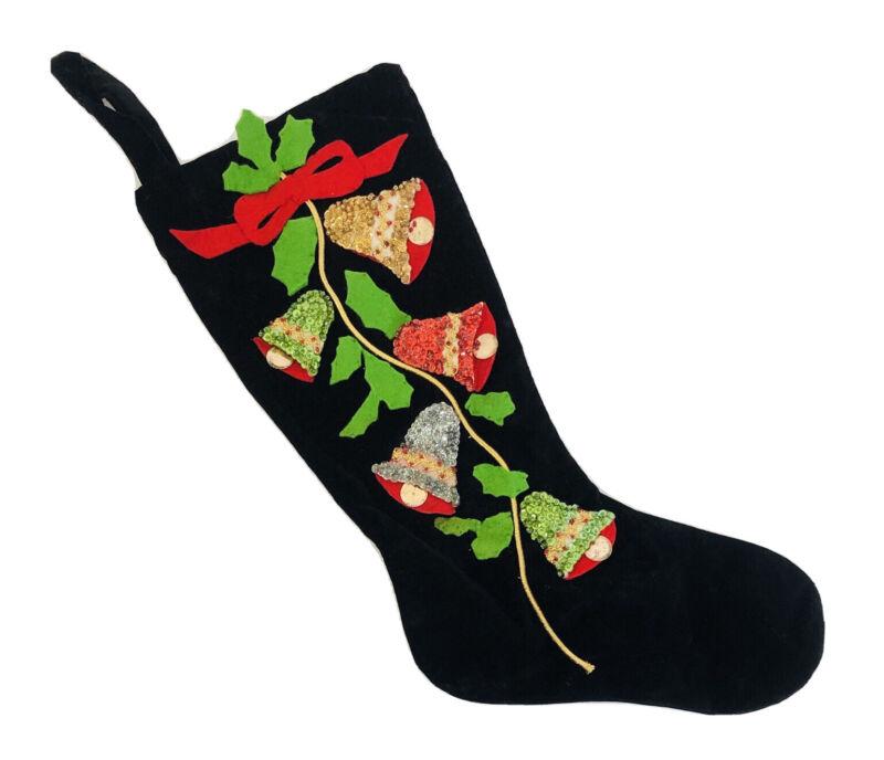 Vtg Christmas Bells Stocking Applique Felt Sequins Beads Rick Rack Black Velvet