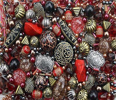 Groß Packung von Vermischt Rot Perlen für die Schmuckherstellung - 80g ()