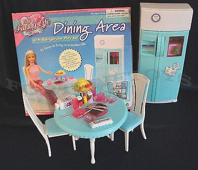 Fancy Life DOLLHOUSE FURNITURE DINING Room w/Refrigerator PLAYSET FOR Dolls