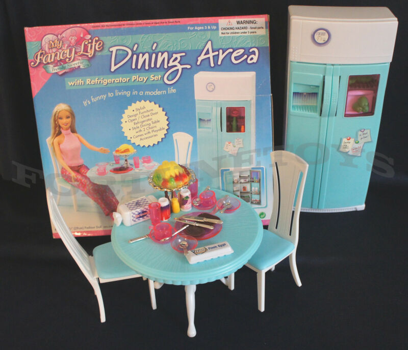 Fancy Life DOLLHOUSE FURNITURE DINING Room w/Refrigerator PLAYSET FOR Dolls