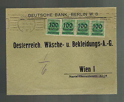 1923 Berlin Germany Inflation Deutsche Bank Cover To Vienna Austria