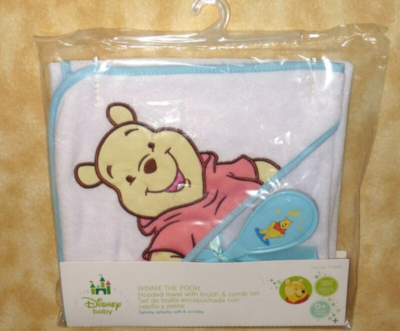 NEW disney baby winnie the pooh boys blue hooded towel brush comb set 0+ months